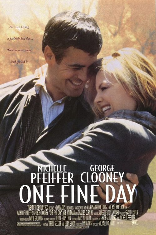 ONE FINE DAY (1996): Melanie Parker, an architect and mother of Sammy, and Jack Taylor, a newspaper columnist and father of Maggie, are both divorced. They meet one morning when overwhelmed Jack is left unexpectedly with Maggie and forgets that Melanie was to take her to school. As a result, both children miss their school field trip and are stuck with the parents.