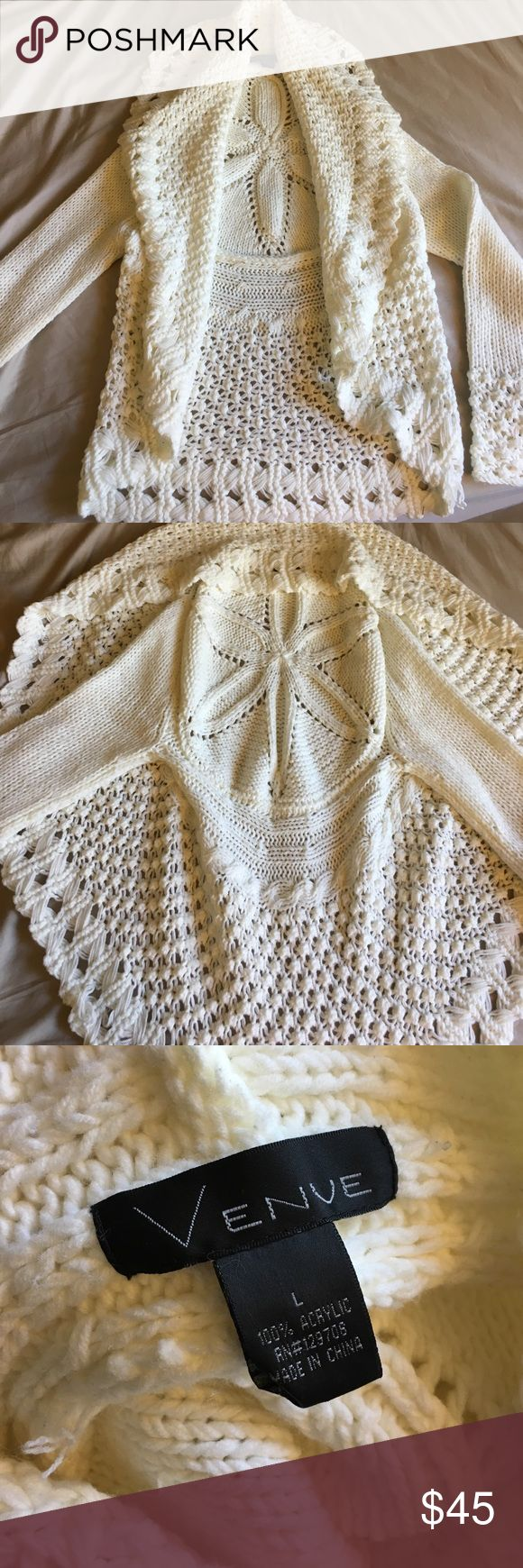 Off White Wedding Dress Cover Up Works great as a wedding dress cardigan! Be warm and elegant at your wedding!! Thick knit crochet sweater. Beautiful, bohemian, and figure flattering all in one!  Worn for literally 10 minutes at my wedding as I was leaving. Basically NWOT tags. Pictures make it look darker then it really is, it is a true off white in person. Venue Sweaters Cardigans