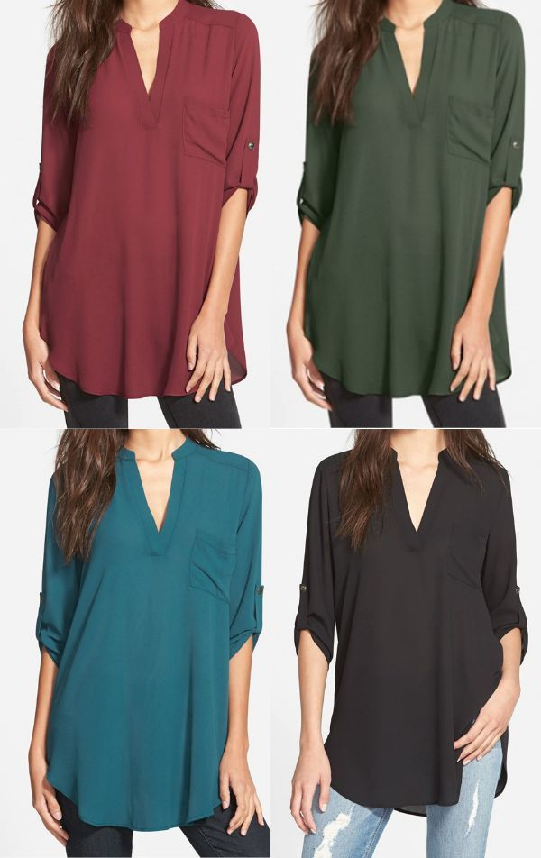 Fall fashion - Lush roll tab sleeve tunic, perfect with jeans or leggings for Fall