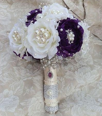 Purple Jewel Embellished Brooch Bouquet custom designed flower bouquet in purple & ivory mix (can be made in purple & whi