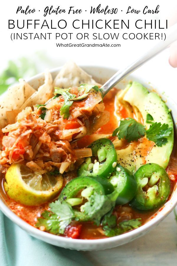 This spicy and delicious Paleo Buffalo Chicken Chili is an easy set-it-and-forge…