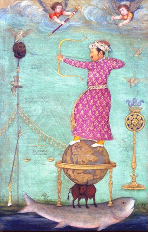 copy of Abu'l Hasam's dream painting of emperor Jahangir atop a globe shooting his non-Mughal rival Ambar Malik. Ambar died a natural death at 80. He came from Ethiopia to India a slave, and became the most prominent African to rule over non-Africans. In 1560 he gained control of a  Deccan kindgom. He was a great general, successful at guerrilla warfare against the Mughals, built cities, water systems; and formed a revenue system that lasted until Indian independence, Freer Gallery of Art…