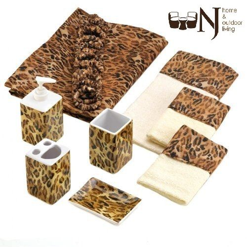 9 Piece #BathroomSet With #LeopardPrint! #offer #deal #decor #shopping