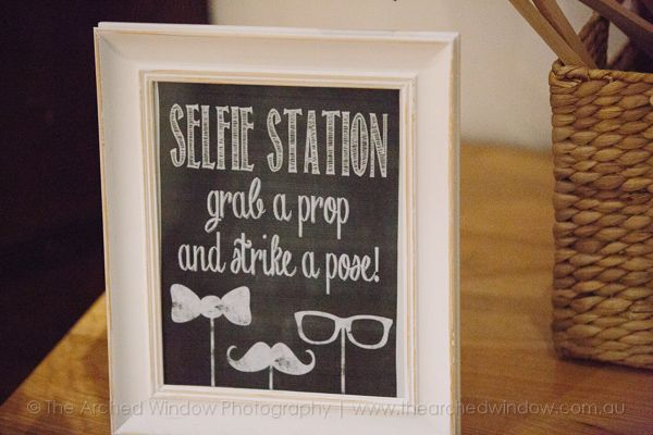 selfie station chalkboard blackboard inspo for a wedding reception. Photography by The Arched Window.