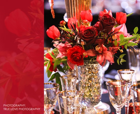 Rich Red And Orange Roses Gorgeous Centerpiece Visual Impact Design Contemporary Wedding Flowers