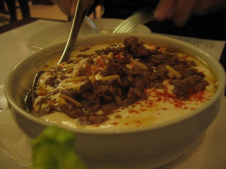 Humus w meat, Al Hallab Restaurant, Dubai, UAE
