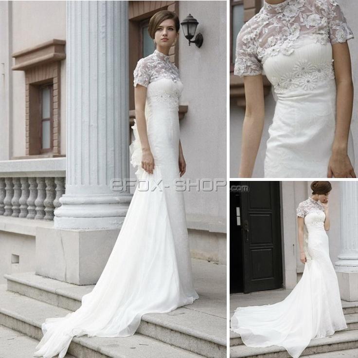 Chiffon lace Kleid Birnenförmig Stehkragen für Abendveranstaltung-Abendkleider