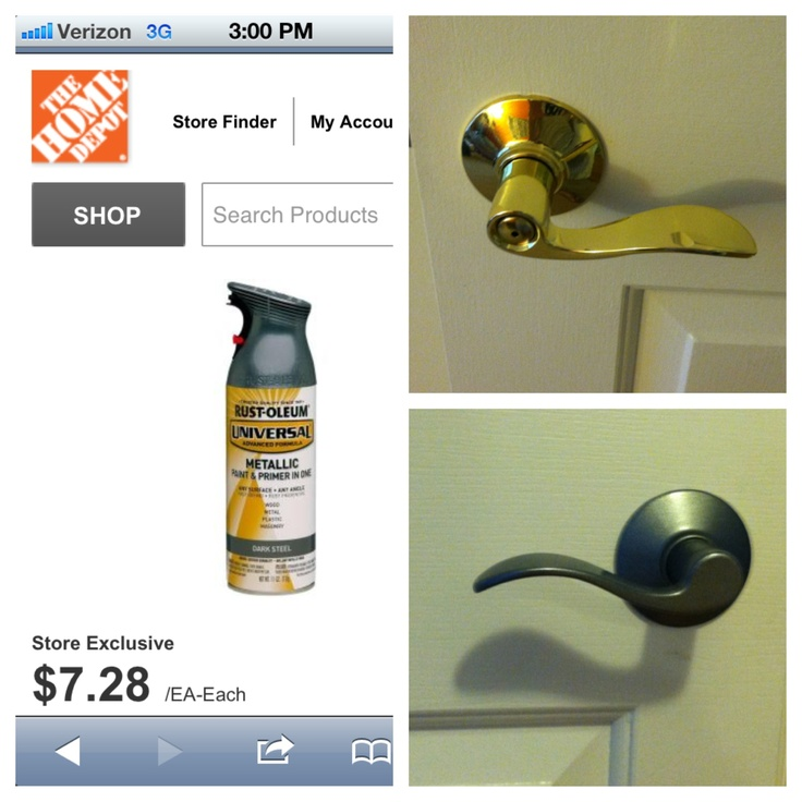 MOM u should try this!!! Refinished all our brass door handles with spray paint! Bought rust oleum brand metallic spray paint for a brushed nickel look. Did 10 door knobs for~$15 .... That is less than 1 replacement knob!