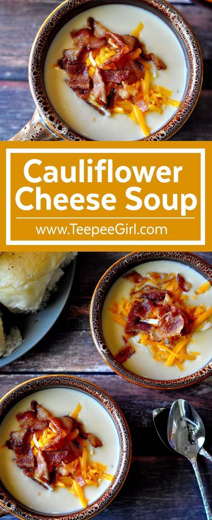 This cauliflower cheese soup is heaven in a bowl! Creamy, cheesy, and totally satisfying, this soup will make you a super star at your dinner table or any social event. Get it today at http://www.TeepeeGirl.com.