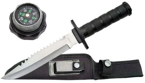 12in Military Survival Knife. 12in Military Survival KnifeSurvival Knife with water tight Screw-off cap with compass Overall Length: 12 Blade Length: 7 Blade Material: Stainless Steel Handle Material: Stainless Steel Basic Survival Kit insde handle Sheath: Ballistic Nylon with Sharpening stoneWE do not guarantee the compass to work correctly 801608006810