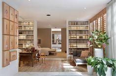 Decoração, design de interiores, decoração de casa, Casacor, Paola Ribeiro, plantas, plantas na decoração, ambientes integrados, casa integrada, decoração clássica, decoração contemporânea, biblioteca, livros, quarto.