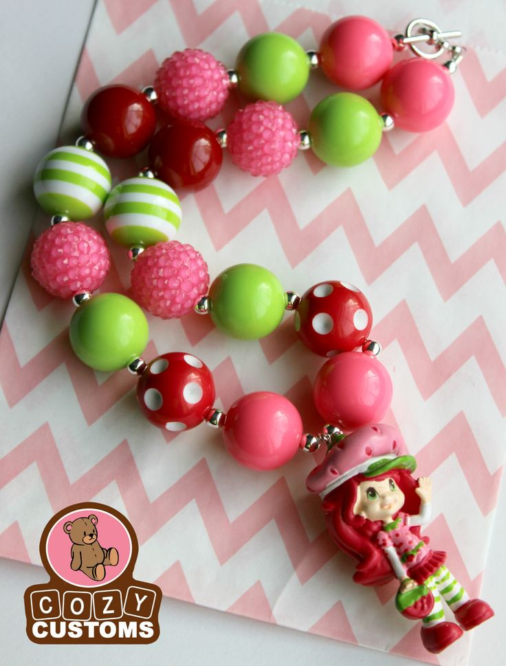 135 best chunky bubblegum necklaces images on pinterest for Strawberry shortcake necklace jewelry