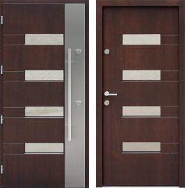 Drzwi wejściowe inox   z szybą 419,1-419,11 w kolorze orzech