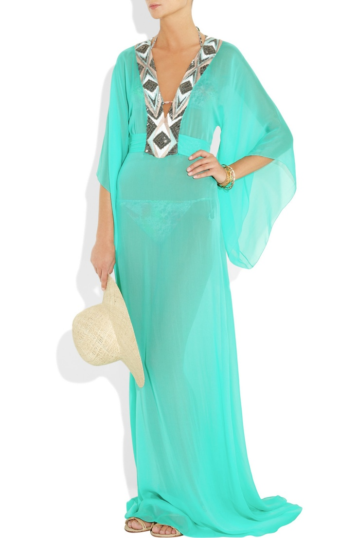 MATTHEW WILLIAMSON  Embellished silk-chiffon maxi kaftan  $1,175. Once again, love. But not the price.