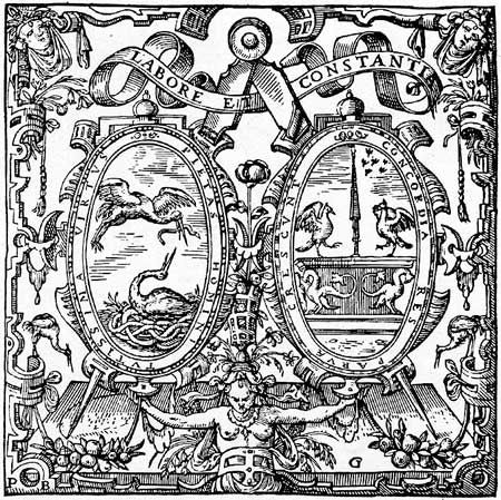 "Until 1557, Plantin's mark was a vine with the words ""Vitis Vera Christus"" on a banner. After 1557 he adopted the mark he would use for the rest of his life. While Plantin varied the style of his mark over the years, some elements are always present. These include Plantin's personal motto ""Labore et Constantia"" (Labor and Constancy), and the symbol of the compass, usually held by a disembodied hand and drawing a circle."