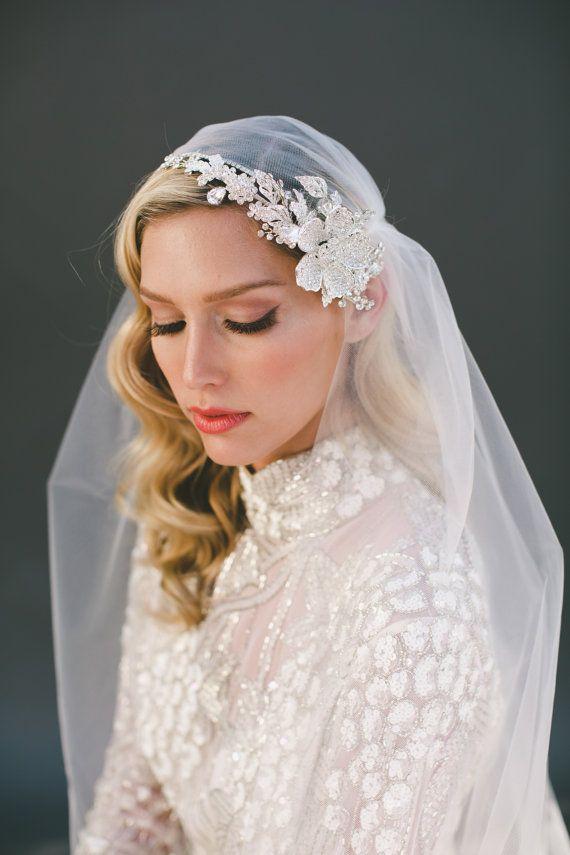 Wedding Veil Crystal Veil Juliet Cap Veil Juliet by veiledbeauty
