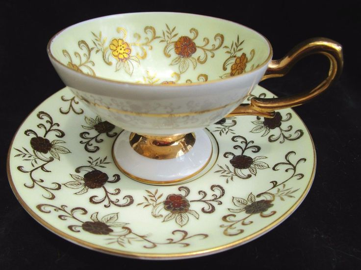 VINTAGE Wako China Occupied Japan Footed Tea Cup & Saucer Jeweled & Gold Floral - CAD $21.66. Vintage Wako China Made in Occupied Japan demitasse footed cup and saucer This is a very special and unique set featuring stunning gold floral/scroll decoration with jewel like accent purple, yellow, gold and blue flowers, outlined with raised gold lines. Fancy ornate double loop gold handle with gold rim and rings on exterior. Please view enlarged photos to see the detail. Cup measures ...