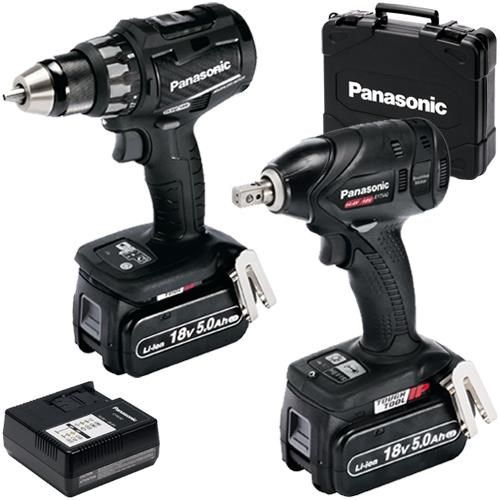 *CLICK TO ENLARGE* Panasonic EYC216LJ2F31 18V Brushless Twin Pack: Drill Driver, Impact Wrench, 2x 5.0Ah
