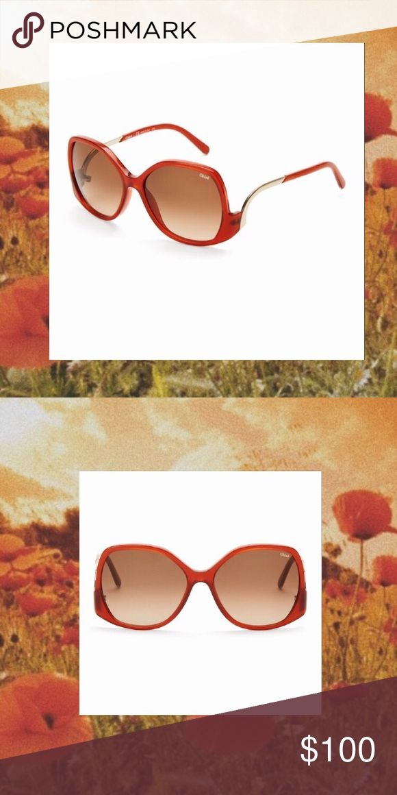 Chloe butterfly oversized burnt orange sunglasses NWT