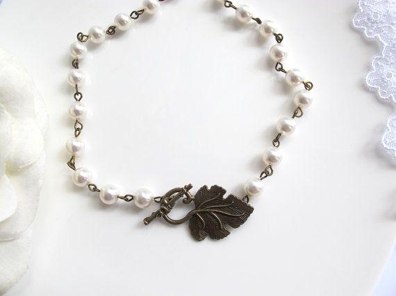 Nature Woodland Vintage Country Wedding Bridal Jewelry Woodlands Inspired Grapes Vineyard Leaf Necklace