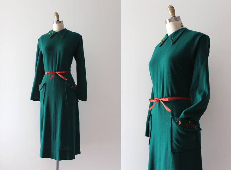 vintage 1940s dress // 40s green wool dress by TrunkofDresses on Etsy https://www.etsy.com/ca/listing/559794241/vintage-1940s-dress-40s-green-wool-dress
