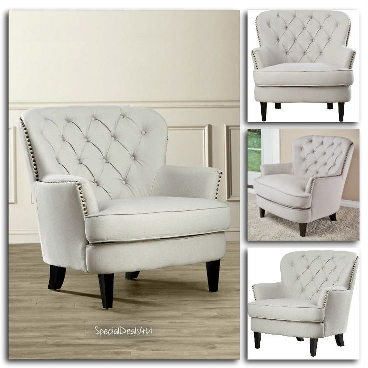 Vintage Armchair Tufted Upholstered Arm Chair Home Furniture Chairs Living Room…