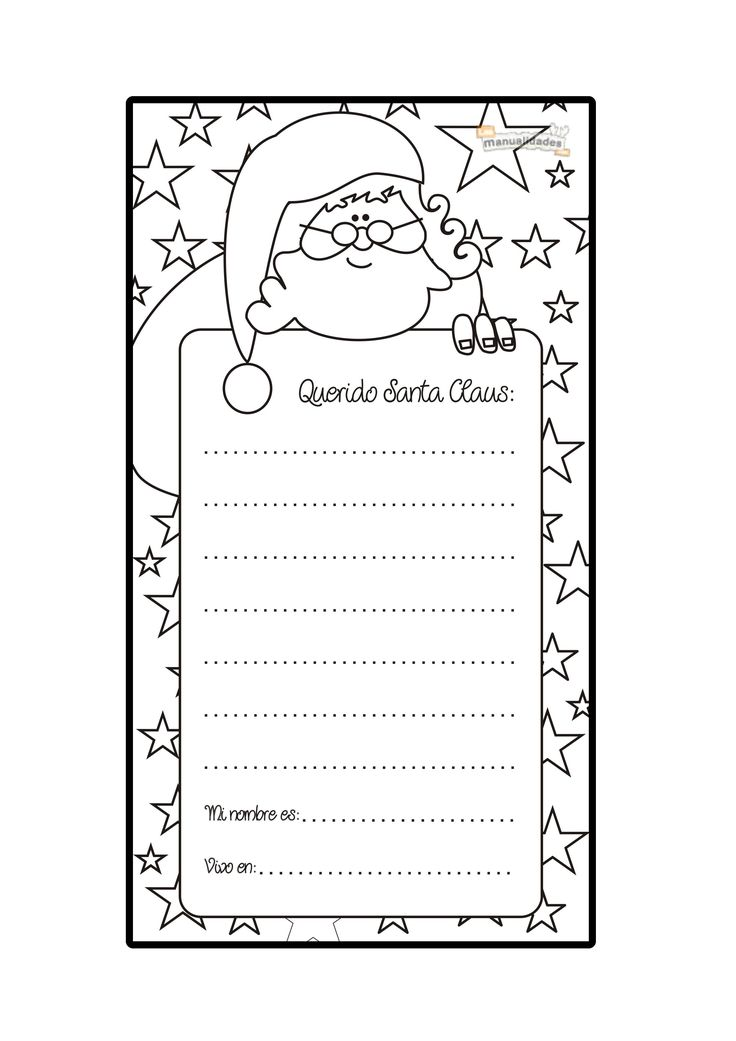 Carta a Santa Claus para imprimir y colorear | Love school ...