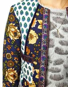 Image 3 ofASOS PETITE Jacket In Mixed Floral Print With Metalic Tape Detail
