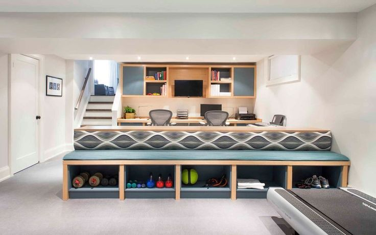 Built In Seating With Storage Home Gym Design Ideas Basement Basement Contemporary With Home Gym