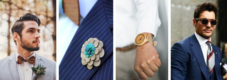 Drewniane dodatki dla Pana Młodego - drewniane muchy, drewniane kwiatki do butonierki, drewniane zegarki, drewniane obrączki, drewniane okulary, drewniane spinki do mankietów.