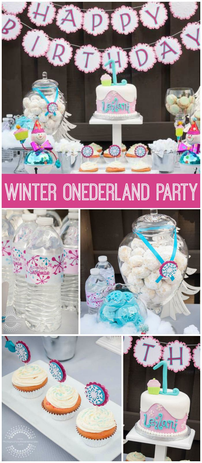 A winter onederland girl birthday party with a fantastic cake and snowflake topped cupcakes! See more party planning ideas at CatchMyParty.com!