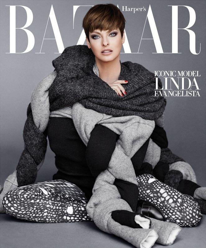 Harper's Bazaar US September 2014 | Linda Evangelista by Sebastian Faena #SeptemberCovers #CarineRoitfeld #fishnets