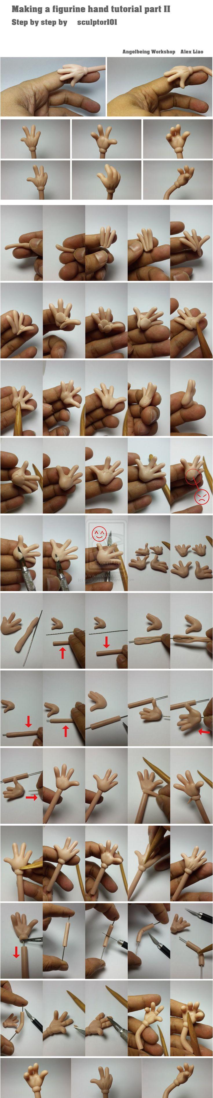 Making figurine hand tutorial part 2 by sculptor101.deviantart.com
