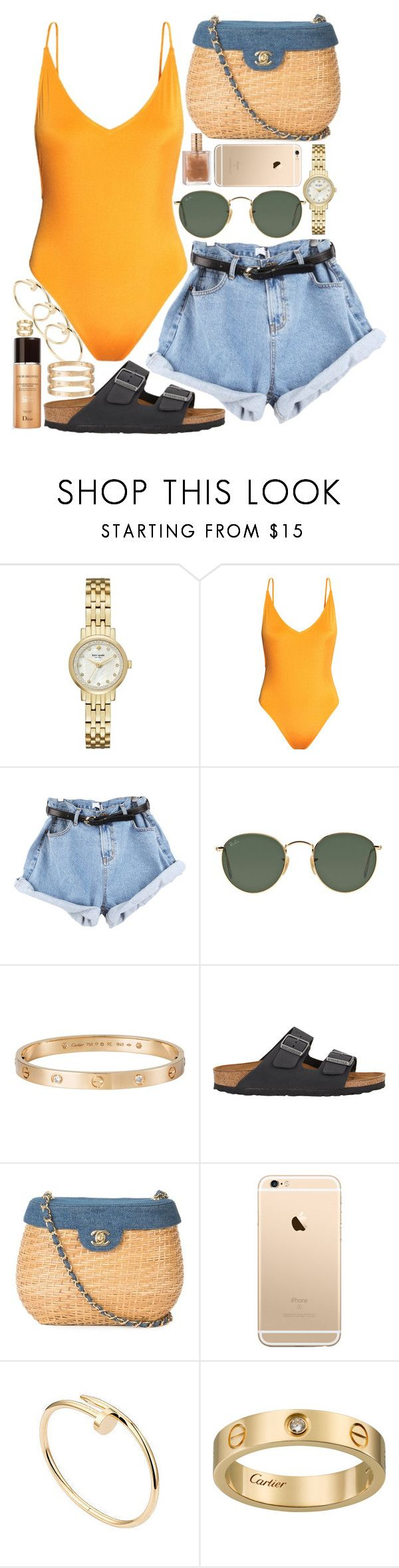"""inspired pool party outfit"" by crisarranz on Polyvore featuring Kate Spade, H&M, Ray-Ban, Cartier, Birkenstock and Chanel"