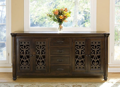 Augustine 4 Drawer 4 Door Buffet mediterranean buffets and sideboards - want for kitchen/livingroom