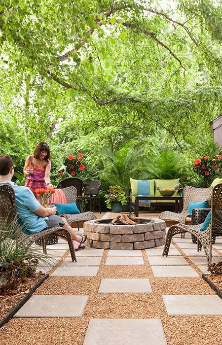 Enjoy s'mores all year long! A stone-ringed fire pit is designed for cozy entertaining no matter the season.