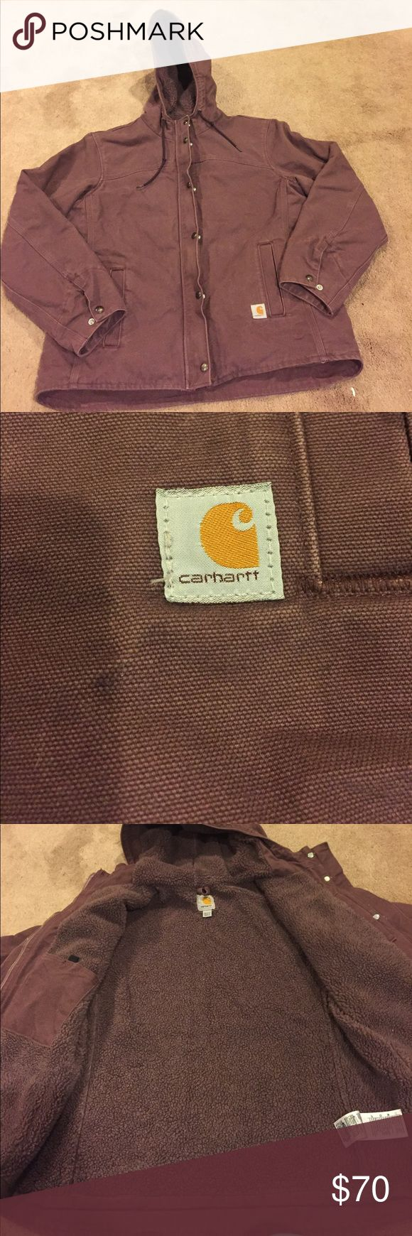 Carhartt coat Women's carhartt coat. Color is a faded purple (def. unique). Wool lined with a large inside pocket. Good is also wool lined. From zips and has snaps to snap over the zipper. Wrists have 2 snaps for an adjustable fit. 2 pockets on the outside. Back is slightly tapered for a longer fit around the butt (see picture). Only worn 2 times. Perfect condition! Carhartt Jackets & Coats