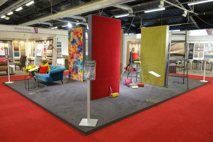 Glen Shee red carpet by kingsmead carpets fitted on the floor, for British Wool, at the Flooring Show, in Harrogate.