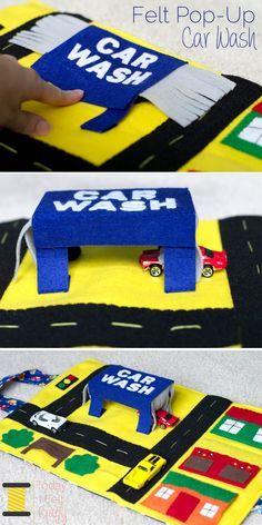 Felt Pop-Up Car Wash - Car Play Mat - Today I Felt Crafty