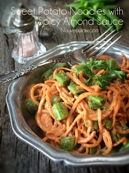Raw Sweet Potato Noodles with Spicy Almond Sauce
