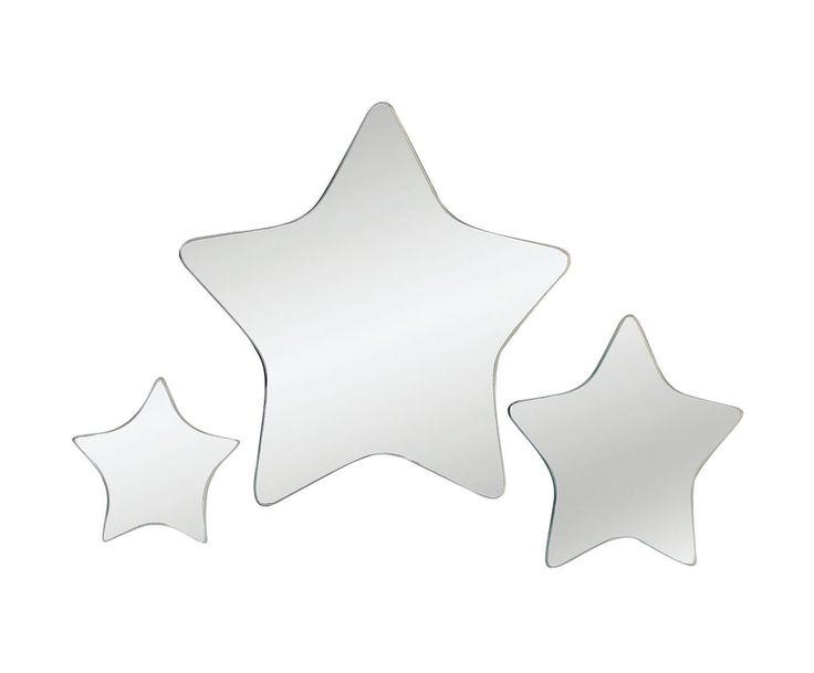 Набор из 3 зеркал Star - стекло - серебристый | Westwing Интерьер & Дизайн