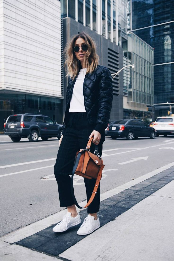 Athletic trend streetstyle in @aritzia bomber jacket, Adidas Stan Smith and Proenza Schouler Hava bag | The August Diaries