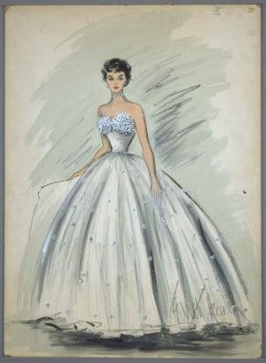 This dress, drawn here and designed by Edith Head, was made for Elizabeth Taylor for her role as Angela Vickers in the film 'A Place in the Sun'.
