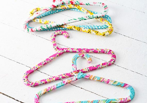 Baby Shower Craft - DIY Fabric-Wrapped Hangers or try Washi Tape