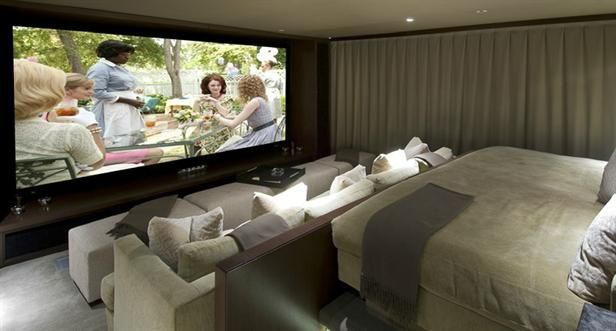 Home Theater! There is what appears to be a comfy bed/over-sized couch in the back, great idea!: Movie Room, Home Theater, Theater Room, Idea, Matthew Perry, Dream House, Media Rooms, Homes, Design