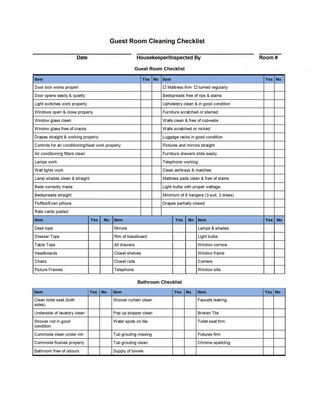 Daily Checklist Template Word - Guest Room Cleaning Checklist Template