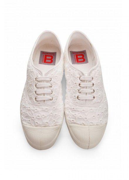 f045cca96ac1d Tennis à lacets broderie anglaise blanc - bensimon 1   Chaussures    Pinterest   Broderie anglaise, Tennis et Lacet