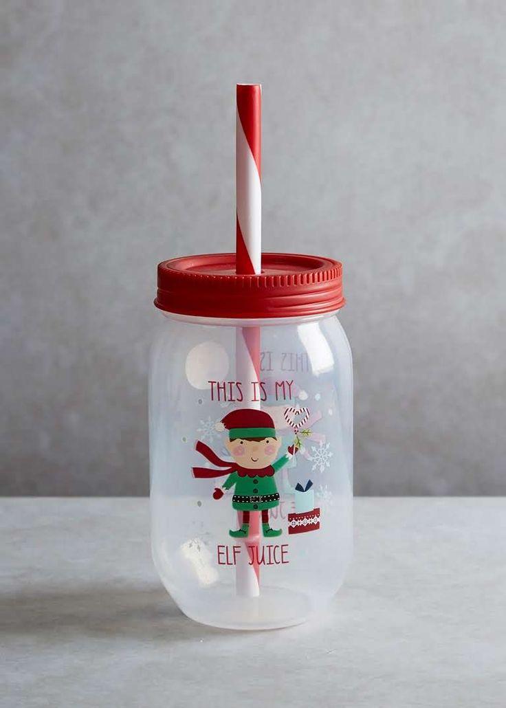 Childrens Elf Christmas Mason Jar With Straw (14cm) View 1