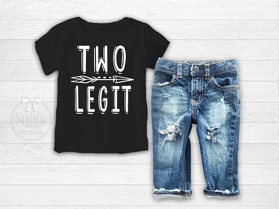 Boys 2nd Birthday Shirt Second Outfit Distressed Denim Two Legit Toddler Boy Party