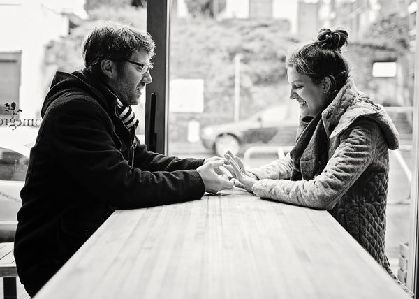 Downtown Seattle coffee shop engagement // Bre Thurston Photography